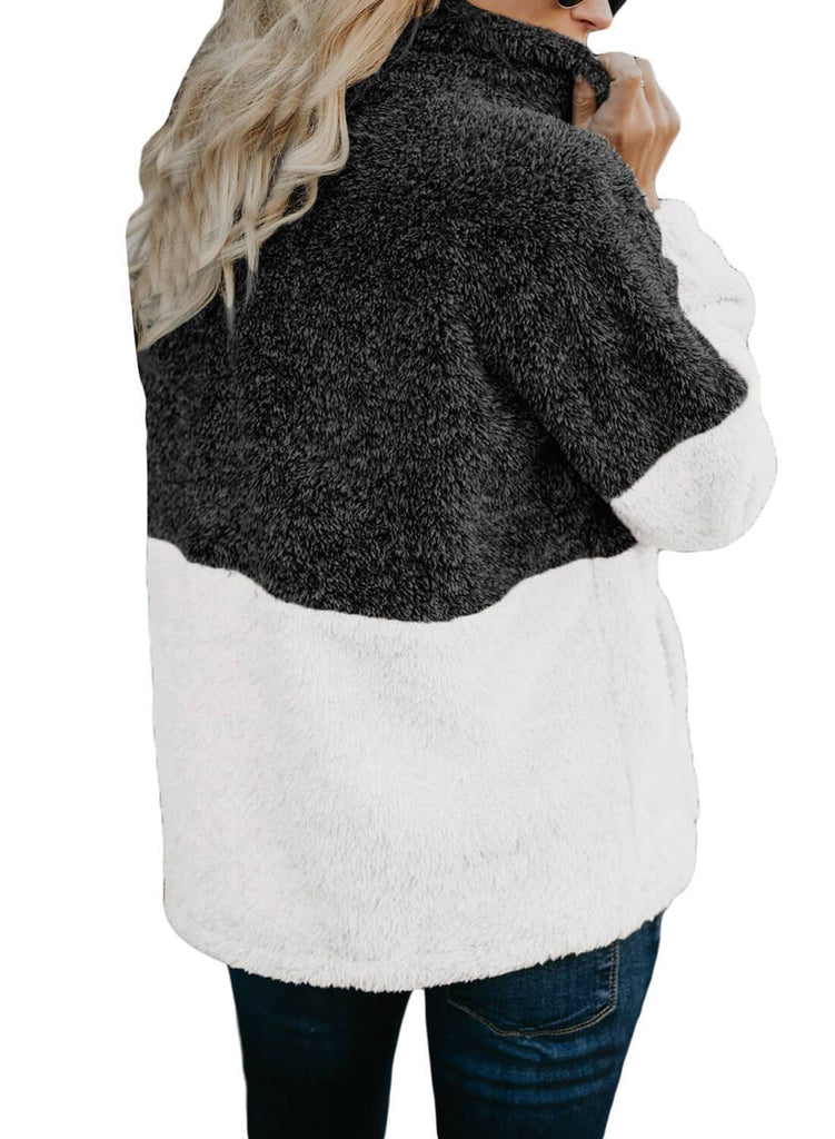 White Zip Neck Oversize Fluffy Fleece Pullover