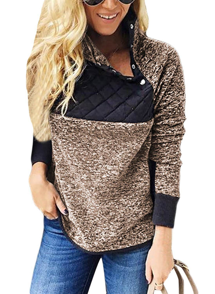 Fleece Asymmetrical Snap Pullover Sweatshirt
