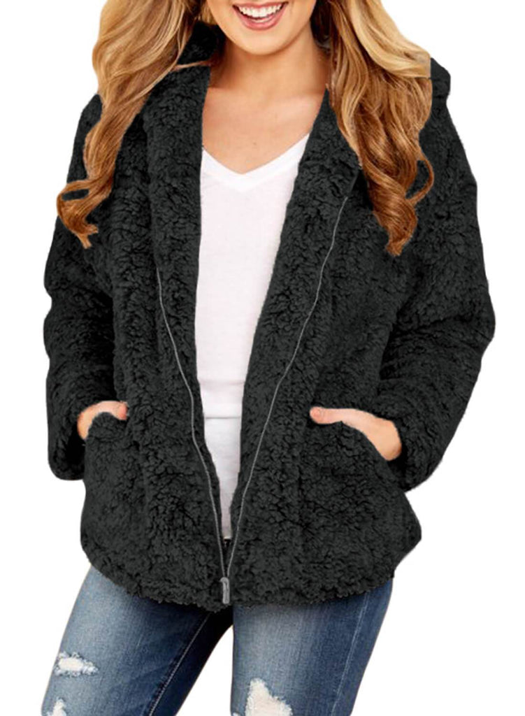 2018 Hot Pockets Zipper Hooded Furry Coats