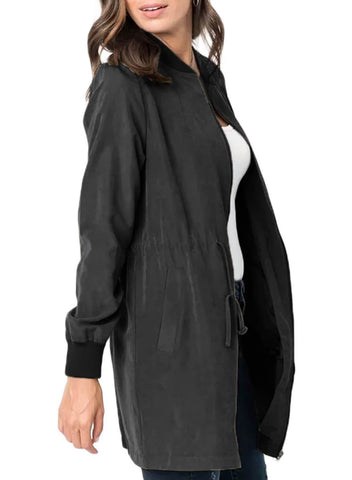 Image of Drawstring Waist Lightweight Jacket