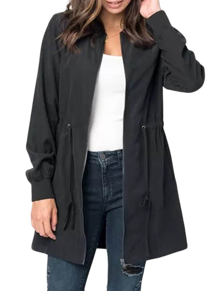 Drawstring Waist Lightweight Jacket