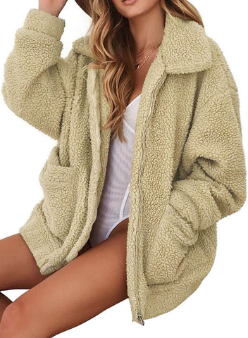 Image of 2018 Hot Seller Lamb Wool Zipper Chunky Coat