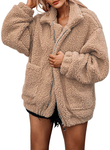 2018 Hot Seller Lamb Wool Zipper Chunky Coat