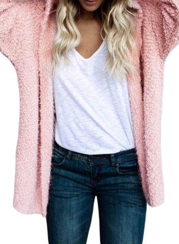 Image of Open Front Long Sleeve Hooded Cardigan