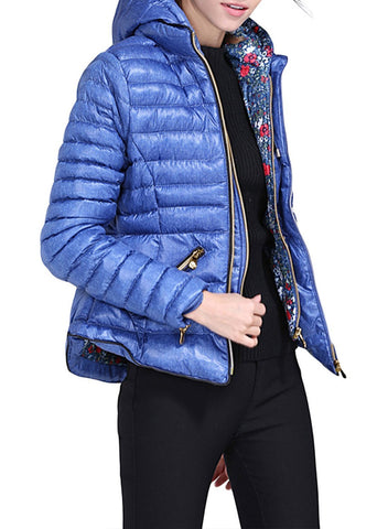 Image of Hooded Cotton Quilted Jacket