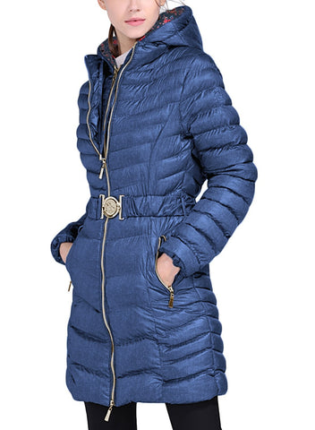 Image of Long Sleeve Belt Hooded Puffer Jacket