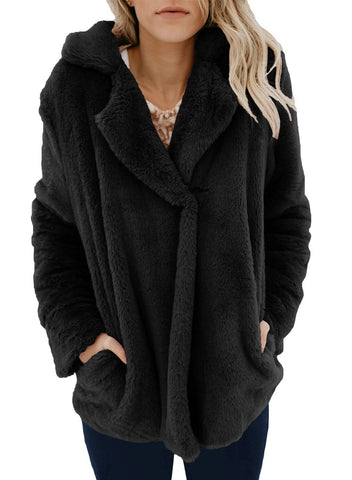 2018 Hot Elegant Notched Furry Coat