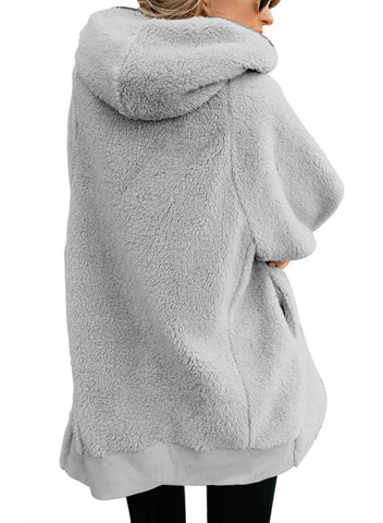 Image of Zip Down Hooded Fluffy Coat