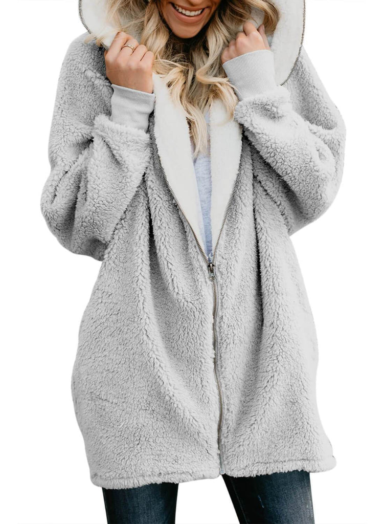 Zip Down Hooded Fluffy Coat