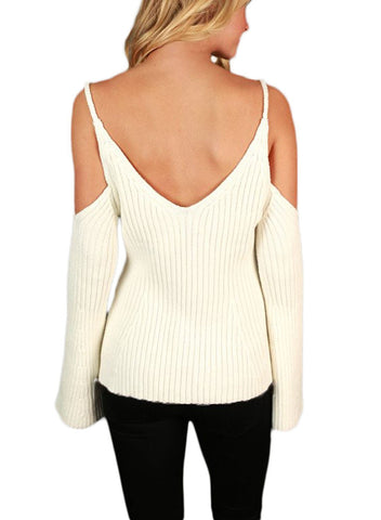 Cold Shoulder Bell Sleeve Sweater