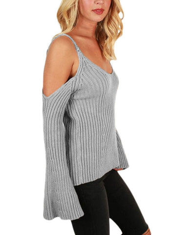 Image of Cold Shoulder Bell Sleeve Sweater