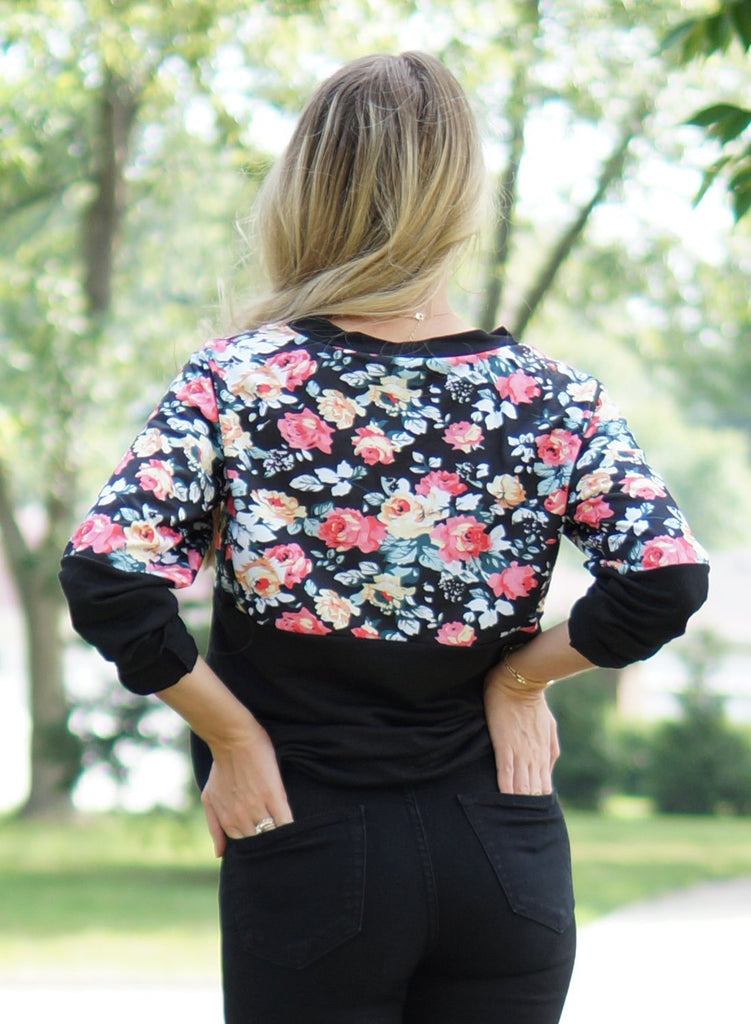 Floral Patchwork Long Sleeve Sweatshirt