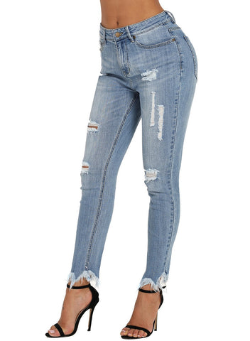 Image of Blue Wash Fringe Affair Flare Jeans