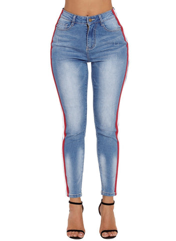 Image of Rainbow Racer Striped Blue Skinny Jeans