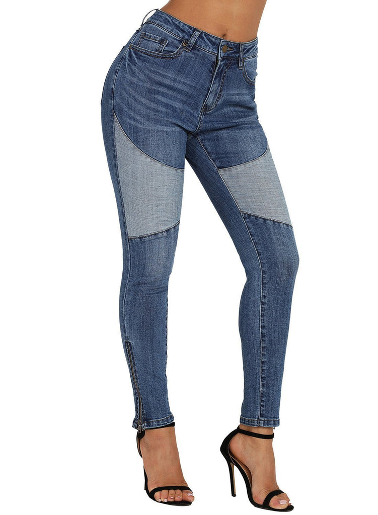 Retro Patch Front Ankle Zipped Jeans