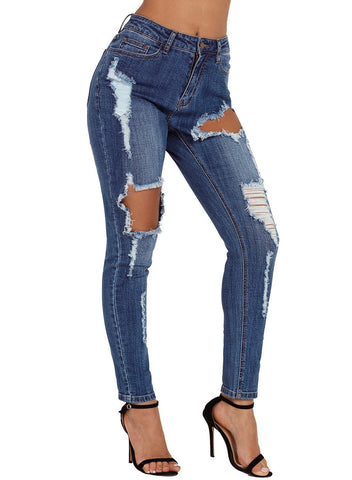 Wash Roll-up Cuff Distressed Jeans