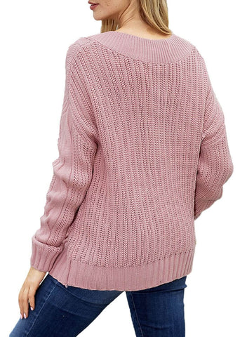 Image of Cable Knit V Neck Sweater