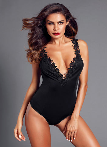 Image of Crochet Plunge Bodysuit(LC32221-2-1)