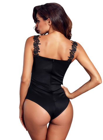 Image of Crochet Plunge Bodysuit(LC32221-2-2)