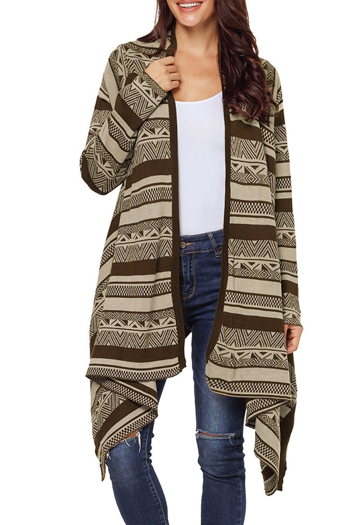 Draped Azetc Print Open Front Cardigan