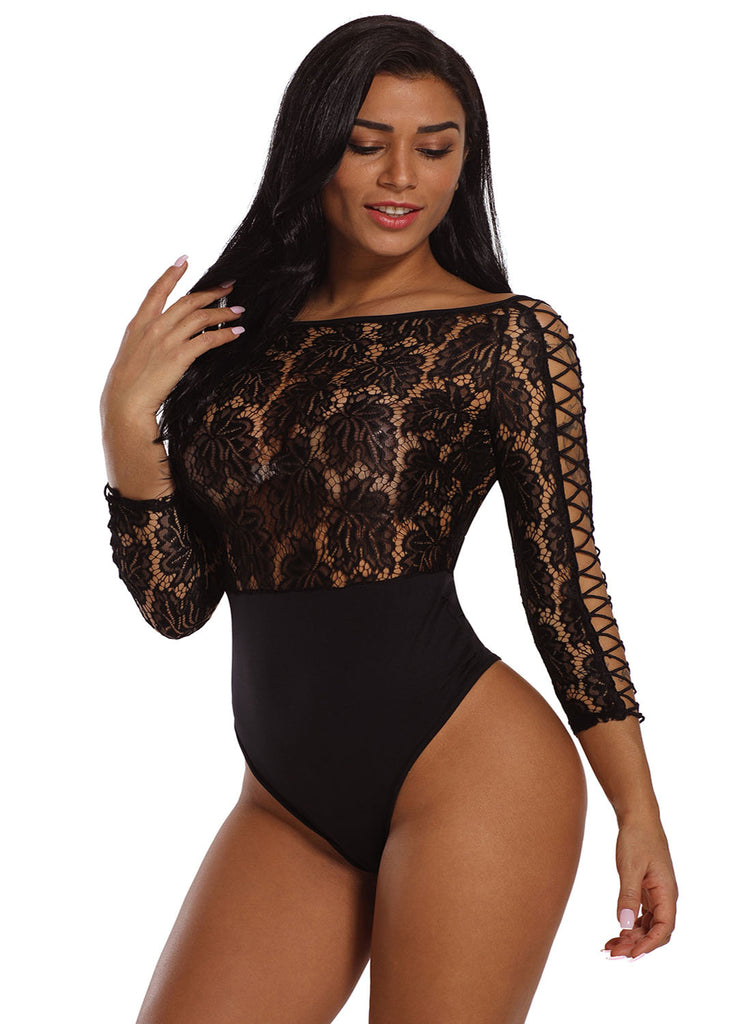 Lace Lattice Sleeve Bodysuit(LC32092-2-3)