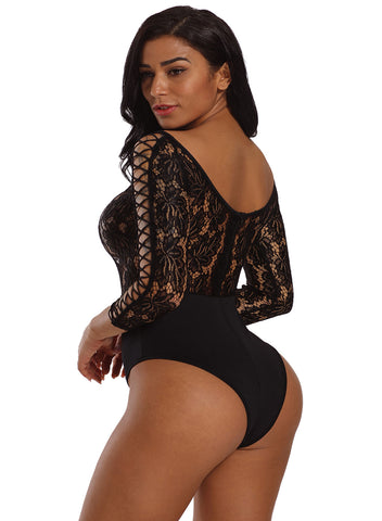 Image of Lace Lattice Sleeve Bodysuit(LC32092-2-2)