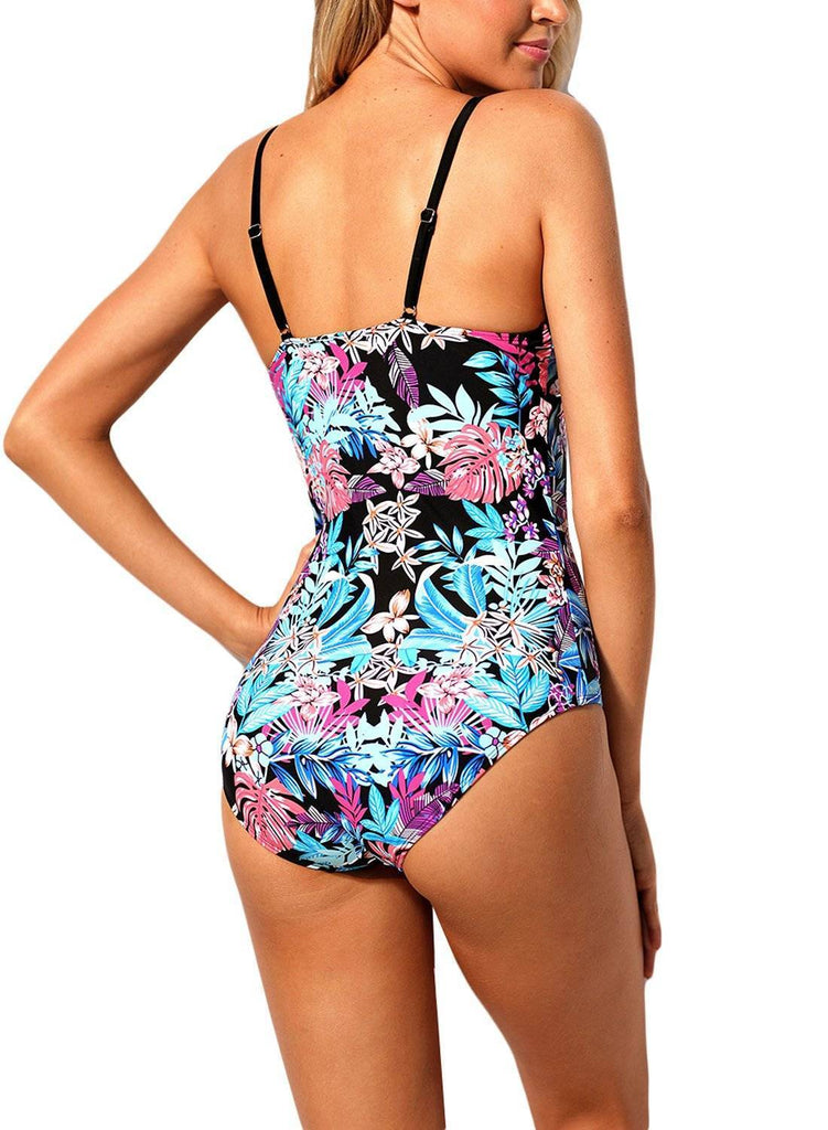 Flourish Tropical Print Lace Up One Piece Swimsuit 410516