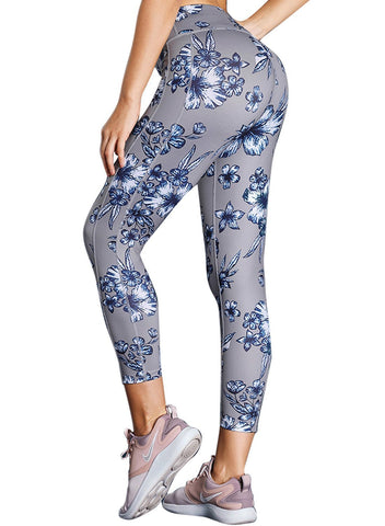 Image of High Waist Yoga Sport Leggings with Floral Print