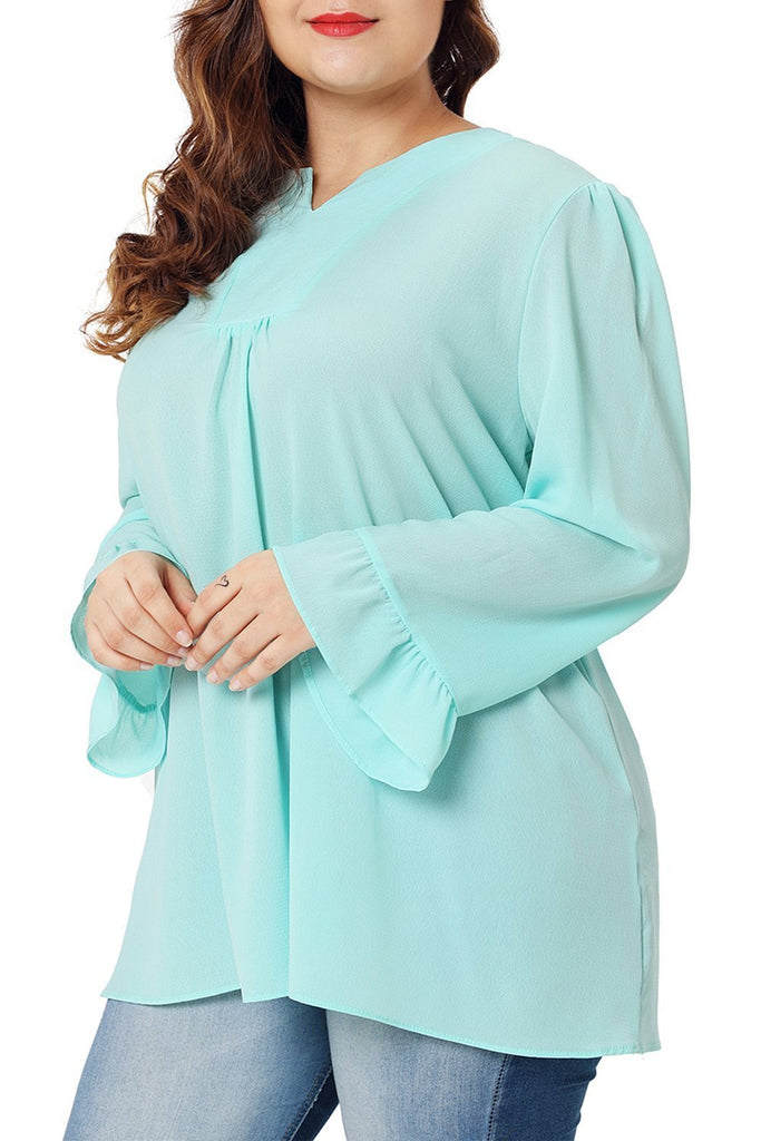 V-Neck Long Sleeve Plus Size Blouse