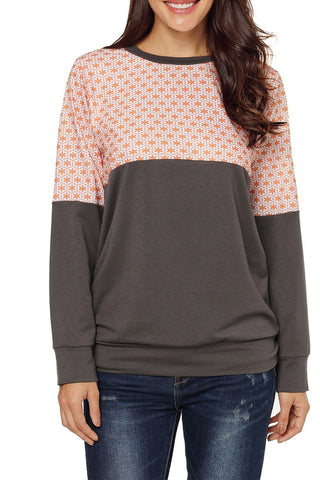 Image of Floral Patchwork Long Sleeve Sweatshirt
