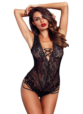 Capped Lace Sleeve Teddy(LC32181-2-1)