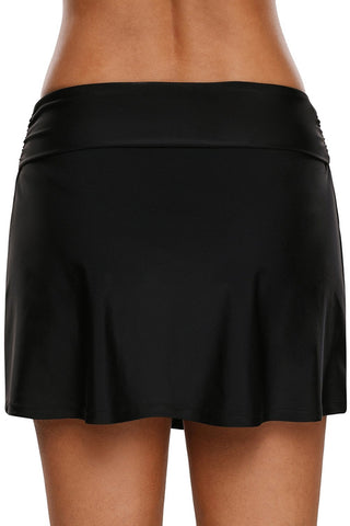 Image of Lace Up O-ring Detail Black Active Skirted Swim Bottom 410699