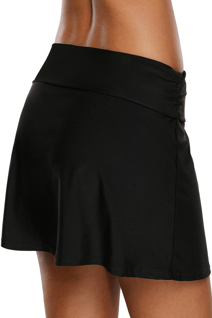 Lace Up O-ring Detail Black Active Skirted Swim Bottom 410699