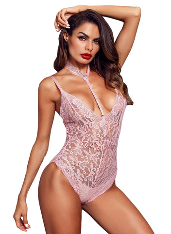 Sheer Lace Choker Neck Teddy Lingerie(LC32139-10-1)