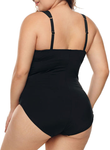 Image of Deep V Neck Monokini Swimsuits (LC410744-2)