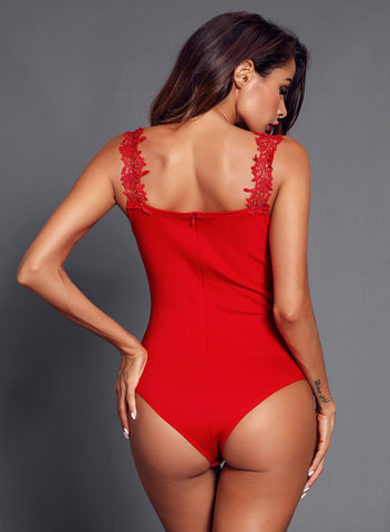 Image of Crochet Plunge Bodysuit(LC32221-3-4)