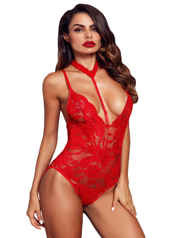 Sheer Lace Choker Neck Teddy Lingerie(LC32139-3-1)