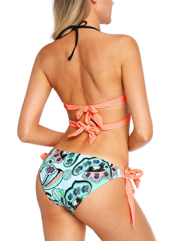Wrap Front Halter Bikini Tie Side Bottom Swimsuit 410302