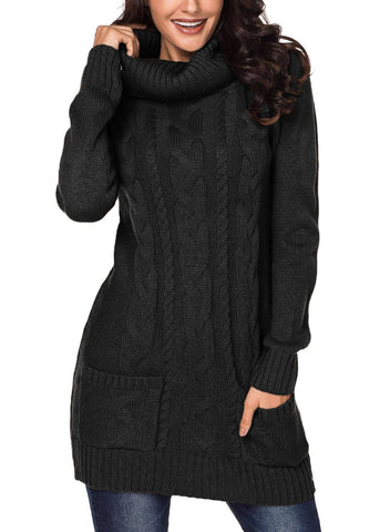 Image of Cowl Neck Cable Knit Sweater Dress