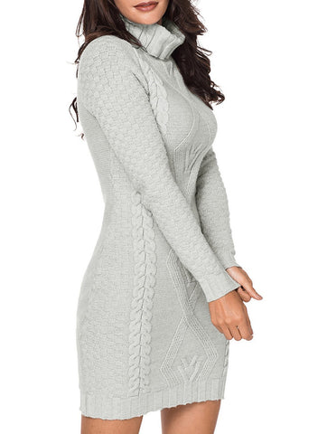 Image of Stylish Pattern Knit Turtleneck Sweater Dress