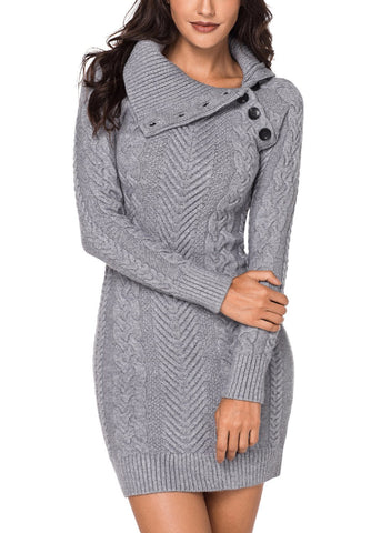 Asymmetric Buttoned Collar  Sweater Dress