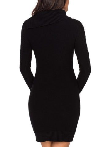 Image of Asymmetric Buttoned Collar  Sweater Dress
