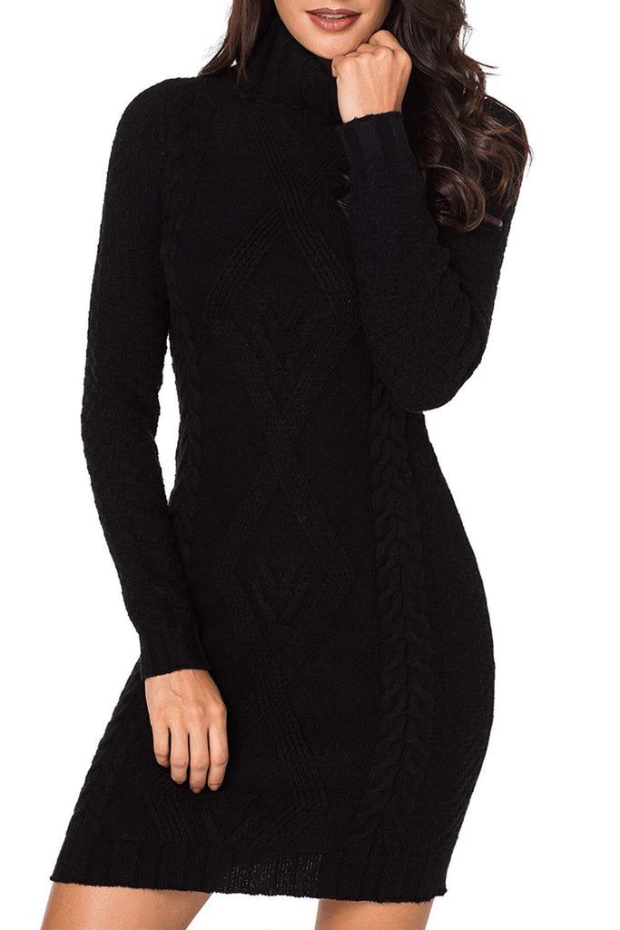 Stylish Pattern Knit Turtleneck Sweater Dress