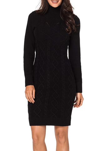 Image of Cable Knit High Neck Sweater Dress
