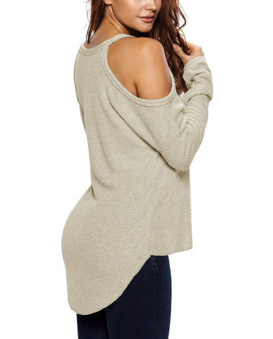 Image of Cold Shoulder Knit Long Sleeves Sweater
