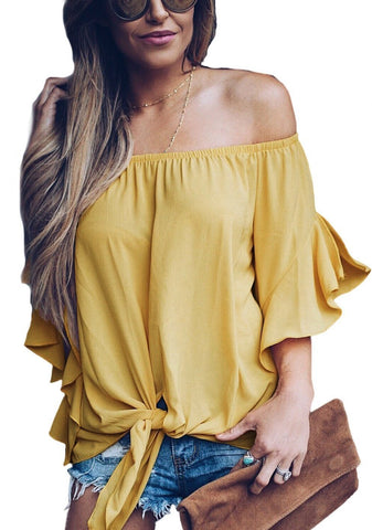 Image of Yellow Off The Shoulder Knot Front Top