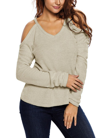 Image of Apricot Cold Shoulder Knit Long Sleeves Sweater