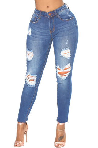 Faded Denim Blue Wash Distressed Jeans