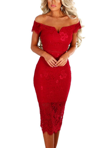 Red Lace Bardot Midi Dress