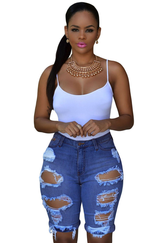 Dropship Blue Denim Destroyed Bermuda Shorts With